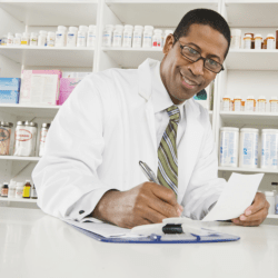 pharmacist giving a prescription