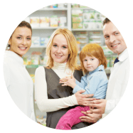 2 pharmacist and customer carrying a baby