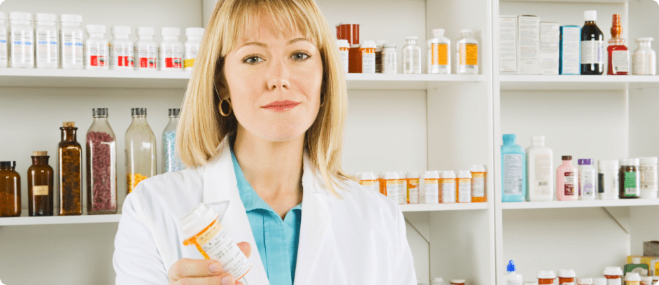 pharmacist giving some medicines