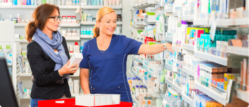 customer selecting medicines in a pharmacy